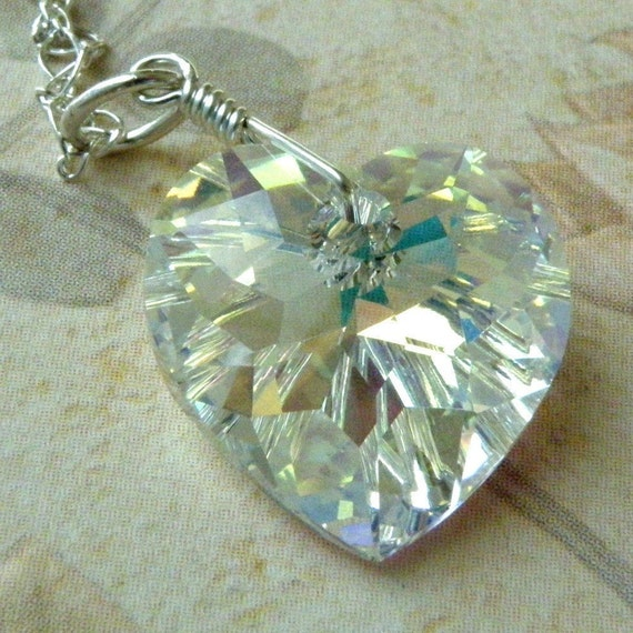 Crystal Heart Pendant, Sterling Silver Necklace, Wedding Handmade Jewelry, June Birthday, Valentine Handmade Jewelry, Gifts for Her