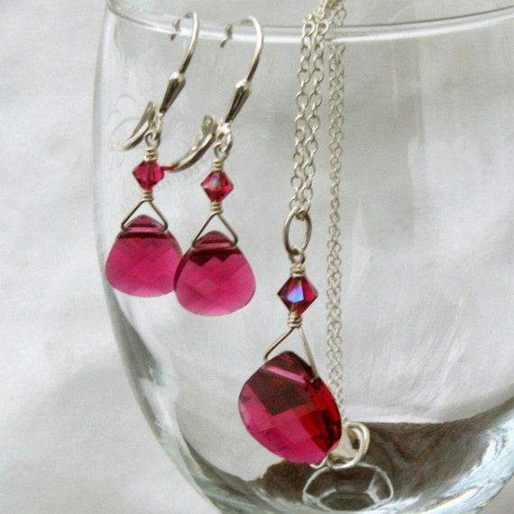 Ruby Red Jewelry Set, Bridesmaid, Necklace and Earrings, Swarovski Crystal, Sterling Silver, Handmade Wedding Jewelry, July Birthday Gift