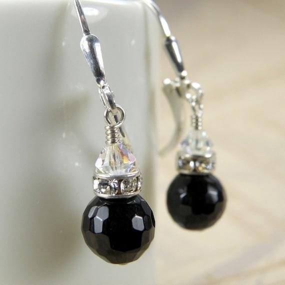 Drop Onyx Earrings, Black Gemstone, Sterling Silver, Faceted Stone, Bridesmaid Wedding Handmade Jewelry, Fall Fashion, Autumn