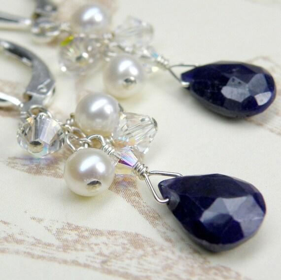 Sapphire and Pearl Earrings, Sterling Silver, Navy Blue Gemstone, Freshwater Pearls, September Birthday, Birthstone, Dangle Handmade Jewelry