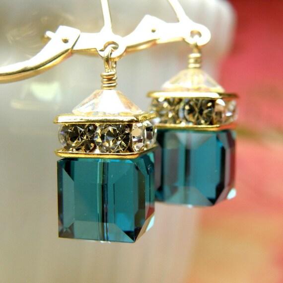 Dark Teal Crystal Earrings, Gold Filled, London Blue Topaz Swarovski Crystal, Bridesmaid Wedding Jewelry, Handmade Gift Autumn Ready To Ship
