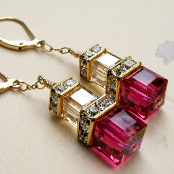 Ruby Champagne Crystal Earrings, Gold Filled, Fuchsia, Stacked Cube, Hot Pink, Bridal, Bridesmaid, Wedding, Handmade Jewelry July Birthday