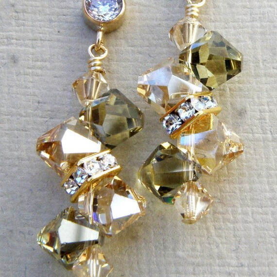 Champagne Peridot Crystal Earrings, Yellow Gold, Green Swarovski, Rhinestone, Bridesmaid, Bridal Wedding Handmade Jewelry, August Birthday