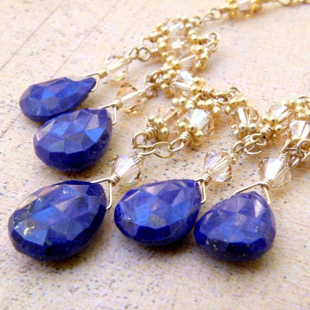 lapis lazuli necklace blue stone gold filled royal blue. Black Bedroom Furniture Sets. Home Design Ideas