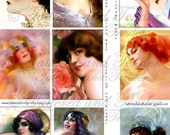 008a-WMV 1- Lovely Ladies Digital collage sheet,  vintage women images-2.5 x 3.5 ATC-ACEO, collage, mixed media,