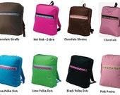 Girls Nylon Backpacks Six Fun Colors with Stylish Ribbon Trim