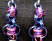 Pink, purple and silver modified barrel weave chain mail earrings