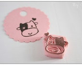 Smiling Cow -- Hand Carved Rubber Stamp
