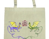 Dragon Dance totebag with celtic designs of original art by Michelle Tourtillott