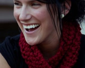 Red Twist Pullover Cowl Scarf - small