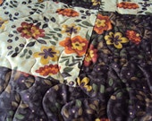 Fall Autumn Patchwork Queen Quilt  - Picnic Blanket - SALE!! - Reg 299.99