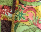 Green Patchwork Queen Quilt - Couch Blanket Throw - Reg 299.99