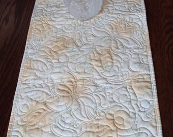 Quilted Elegant Poinsettia Table Runner with Sparkle