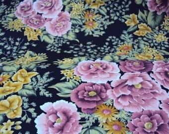 Black Dusty Rose Floral Fabric -  Jasmine - RJR - 2/3 yd
