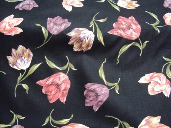 Black Tulip Fabric - 1/2 yd - In Bloom - Timeless Treasures