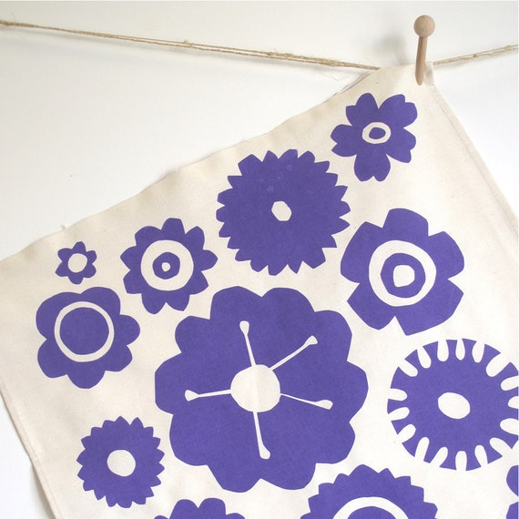 Screenprinted Tea Towel Big Flower in Purple
