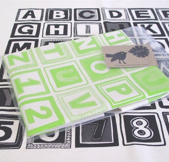 SALE, ABC One Piece Fabric Pack, Hand Printed in Lime