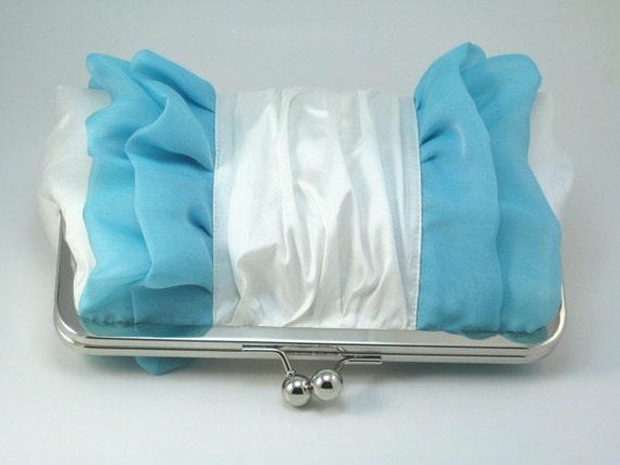 Tiffany Blue RUFFLES Clutch