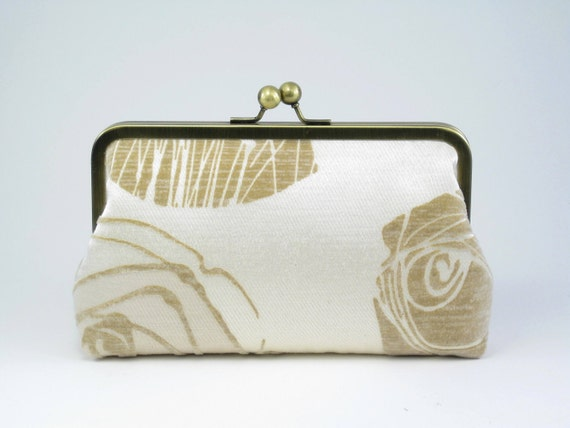 Sale - Embossed Rose Clutch  (last one)  - Wedding Clutch - Bridal Purse