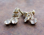 Vintage Double Dangle Rhinestone Screwback Earrings