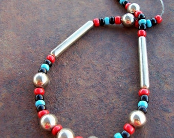 Vintage 70s Hippie Bead Necklace