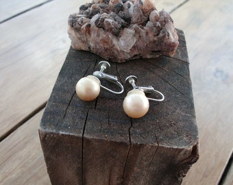 Champagne Pearls 10mm Screwback Earrings