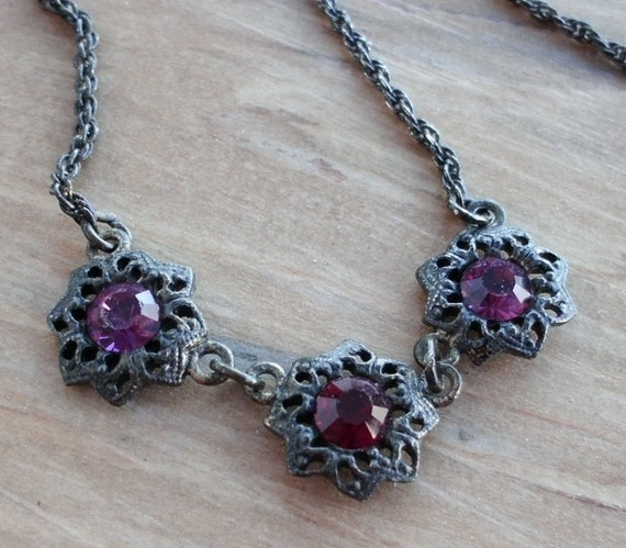 Vintage Choker with Purple Faceted Crystals in Floral Design