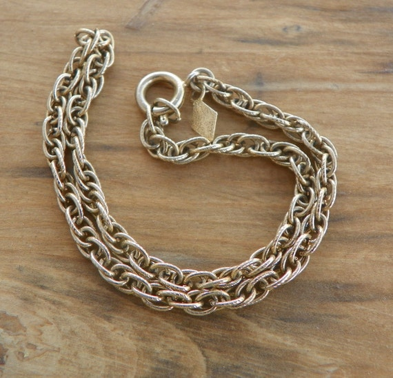 Vintage Sarah Coventry Twisted Rope Chain Ankle Bracelet 10 inches Gold Tone