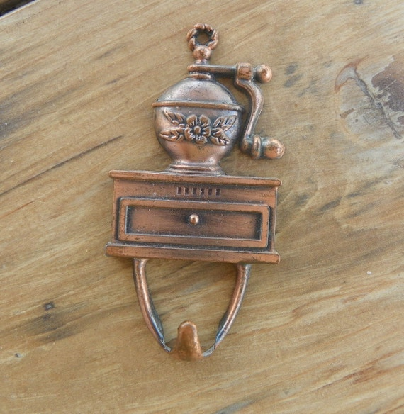 Cute Copper Finish Coffee Grinder Wall Hook 3 Inches for Kitchen Use