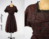 Lace Dress 1950's M-L / Cranberry Lace Belted Cocktail Dress