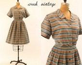 1950's dress L-XL / Spinnaker Stripes Cotton Shirt Dress