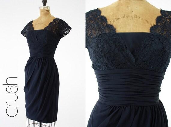 50's Lace Dress XXS-XS  // Midnight Cocktails Corset Dress