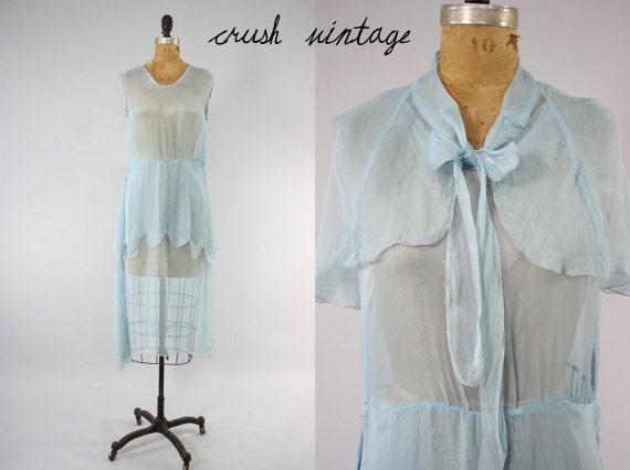 20's Flapper Sheer Dress S-M / 1920s Peplum Blue Silk Vintage Frock / Capelet Cornflower Dress