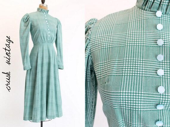 SALE! 40s Green Mint Dress XS / 1940s Emerald Houndstooth Dress /  Prairie Dress