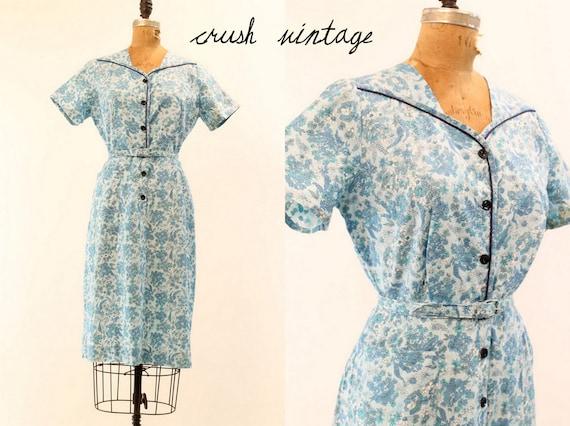 Vintage 50's Dress S-M  /  Midsummer Blue Floral Dress