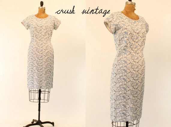 50's I Magnin Dress Small  / 1950s Lace Dress / French Blue Eyelet Dress