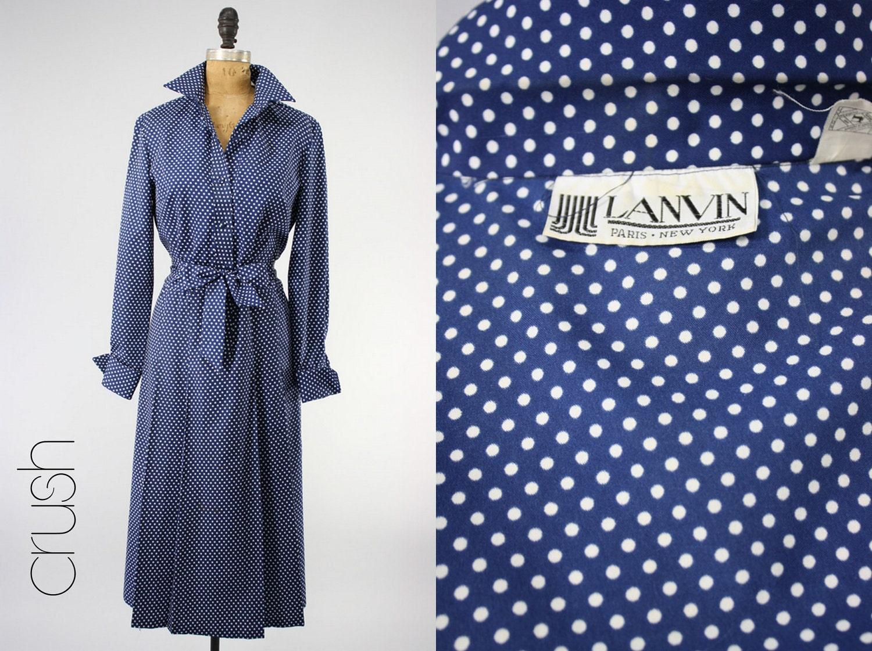 Lanvin Vintage Dress 1970 S M Polka Navy Dot Secretary Shirt