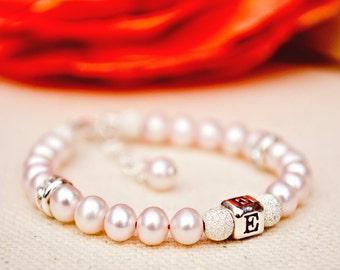 Eliza ... pale pink freshwater pearl baby newborn girl toddler initial monogram bracelet