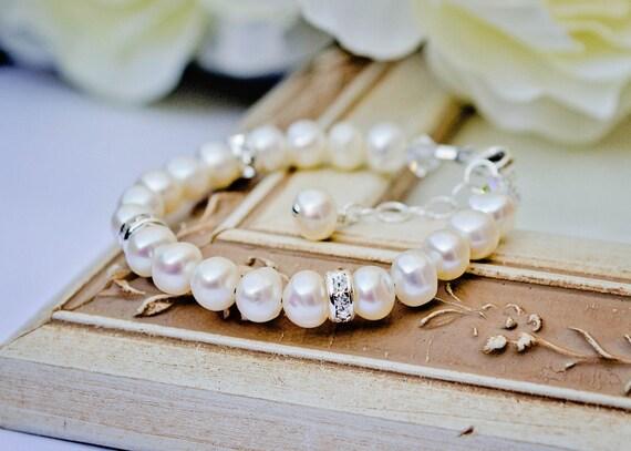Daniella ... baby toddler girl baptism christening flower girl freshwater creamy white pearl bracelet