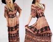Vintage Boho FESTIVAL Dress TRIBAL Print Maxi M/L