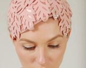 Vintage 1940s FASCINATOR Hat Pink Cut Out LEAF Design Bridal Head Piece