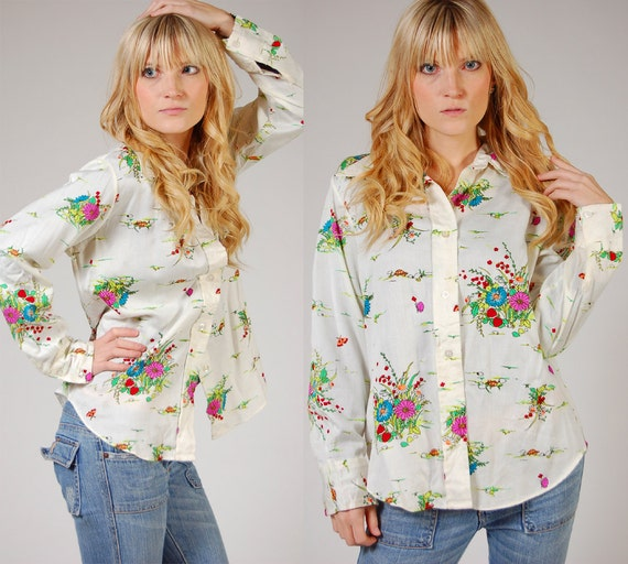 Vintage 70s Button Down Shirt FLOWER & TURTLE Print Long Sleeve S/M