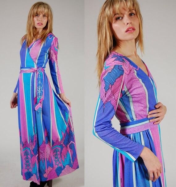 Vintage 70s Maxi Wrap Dress by MAURICE Bright ART NOUVEAU Print