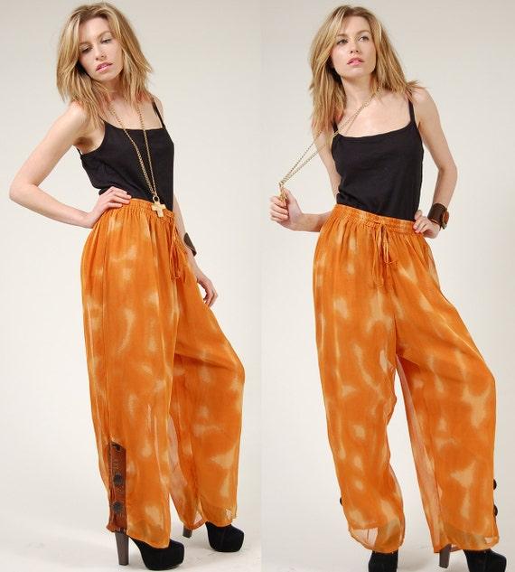 Vintage 80s WIDE Leg Trouser Sheer Orange Pants w/  Wooden Toggles