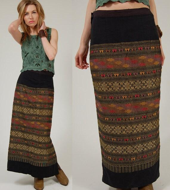 Vintage ETHNIC Maxi Skirt Black w/ Gold Print Boho Chic S/M