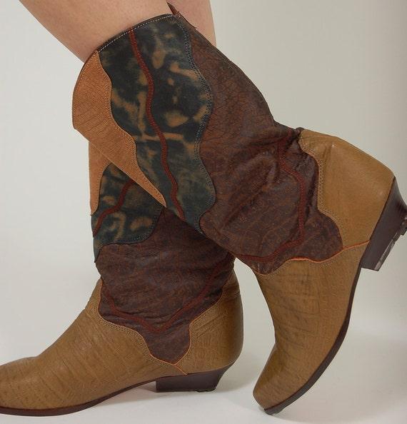 Vintage 80s ZODIAC Boots Soft Leather Patchwork COWBOY 10M