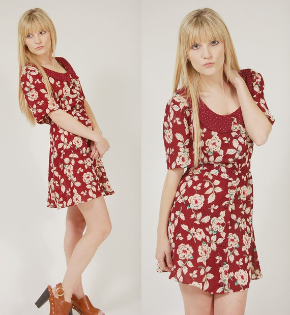 Vintage 80s BURGUNDY Floral Mini Dress with POLKA DOT Collar by Leslie Fay