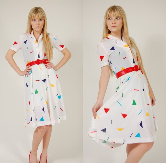 Vintage 80s GRAPHIC Day Dress RAINBOW Triangle Print Midi