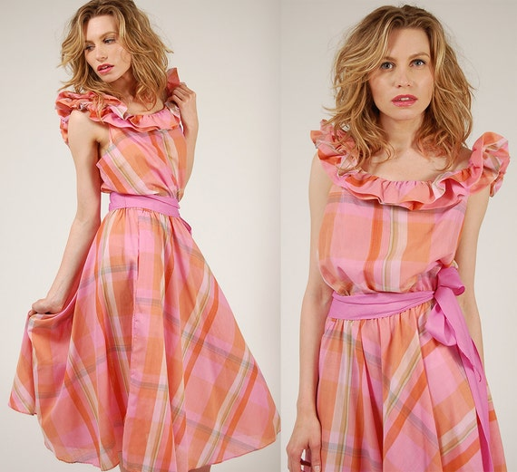 25% OFF SALE - PLAID Day Dress Pink Prairie Southern Belle Midi