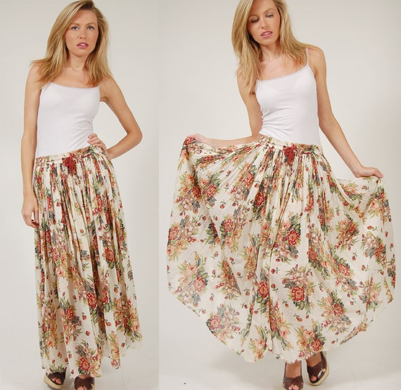 Vintage 90s Maxi Skirt White FLORAL Print Romantic CRINKLE S/M